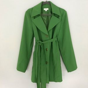 Susan graver  trench coat size Large green color